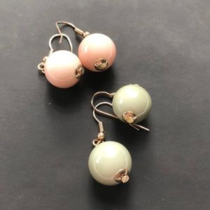 2-for-1 jade and pink ball earrings!